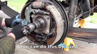 Land Cruiser rear brake service, shoes, drum, emergency brake adjustment