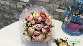 Gelin Buketi Şakayık Güller Pembe-Krem 3lü Set