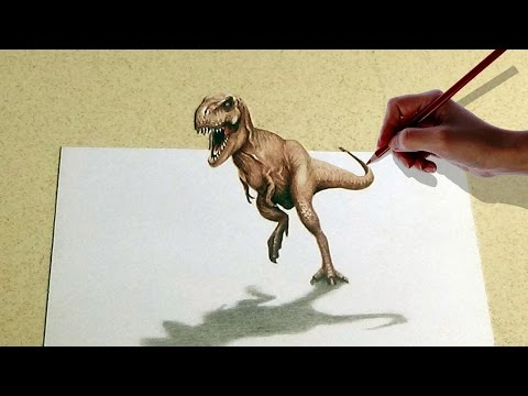 how-to-draw-a-3d-dinosaur- -3d-art- -optical-illusion- 