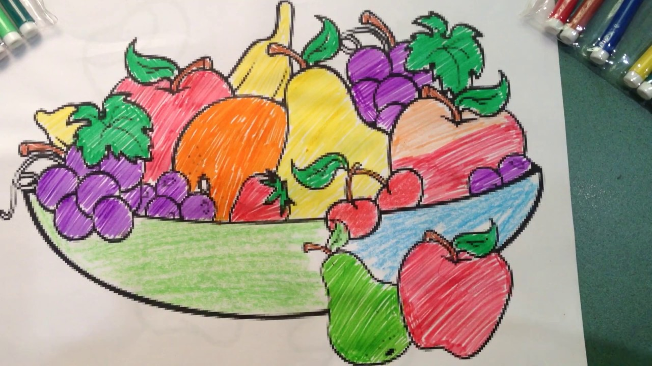 colorful fruit basket learning delicious fruits for