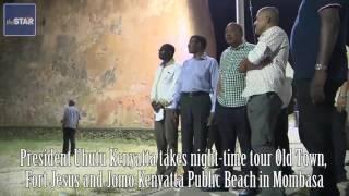 Uhuru takes a tour of Old Town, Fort Jesus and Jomo Kenyatta public beach in Mombasa