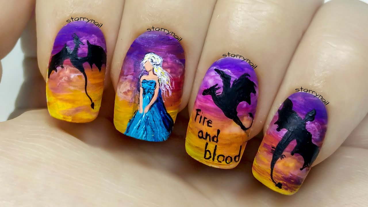 Daenerys Targaryen - Game of Thrones [Freehand Nail Art Tutorial ...