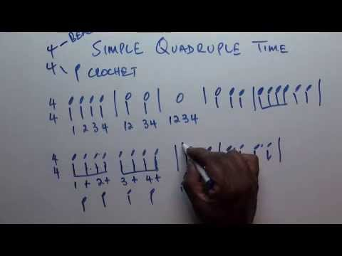 Part 26 - Music Theory Lessons Online - Simple Quadruple time Signatures and grouping of notes.