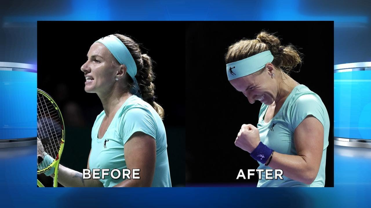 This tennis player cutting her ponytail off is our spirit animal