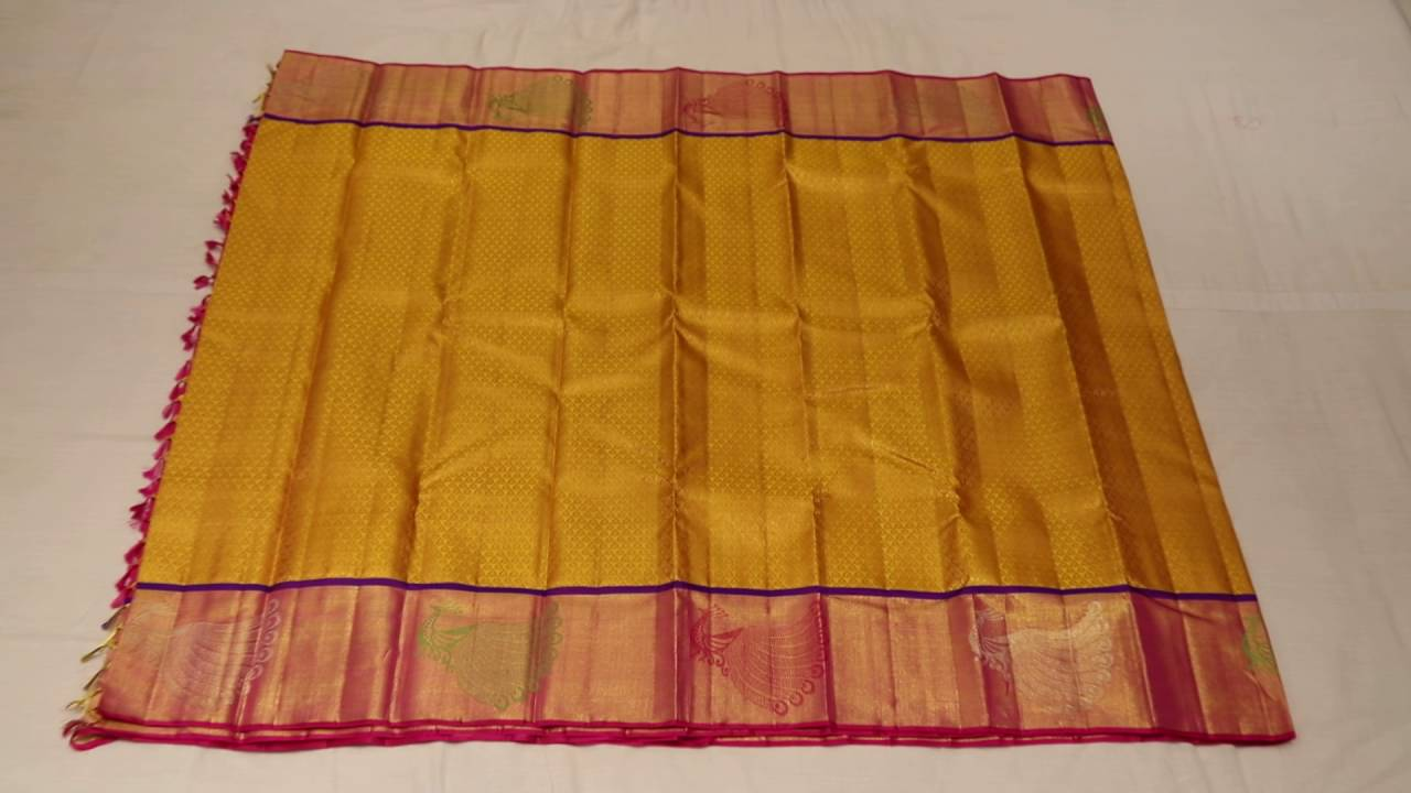 Mustard Colour With Pink Contrast Peacock Design Border