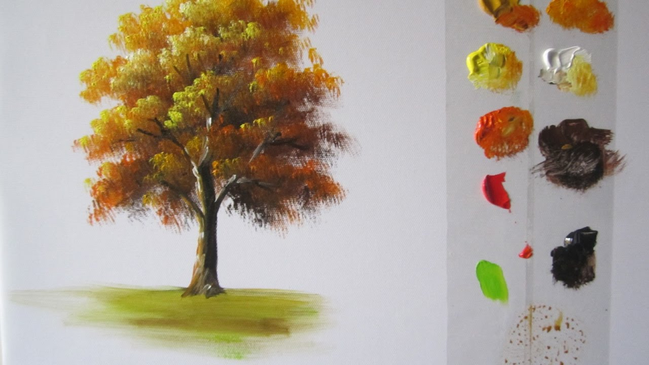 how to paint a tree in acrylics lesson 1 youtube
