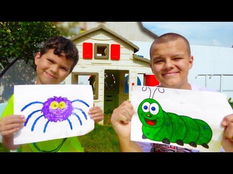 Раскраска Егора и Старшего Брата | Нарисовали Гусеницу и Паука для детей