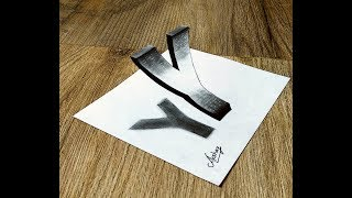 3D letter Drawing - How To Draw 3D Floating Letter Y - 3D Trick Art with pencil and marker