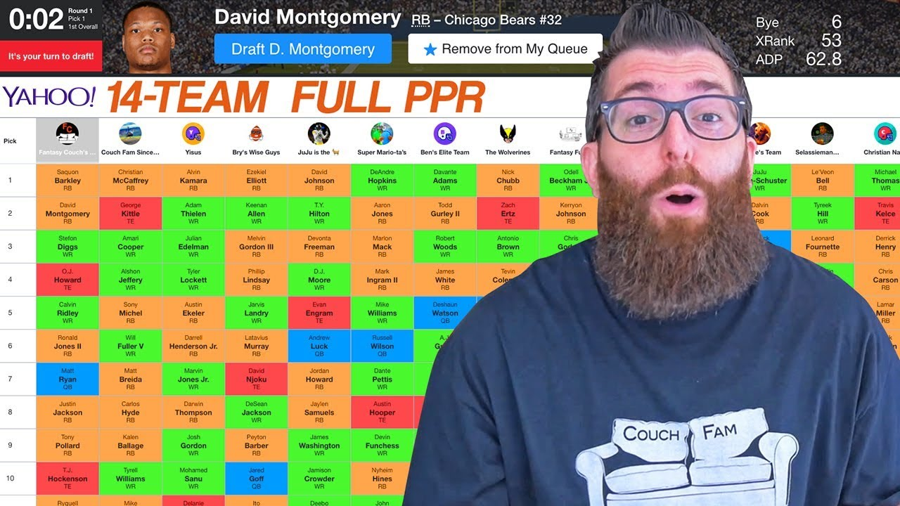 Yahoo Fantasy Football Draft 2019 With Team Grades Youtube