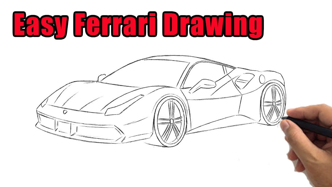 How To Draw A Ferrari Outline Drawing Easy Step By Step Ferrari Sketch For Beginners To Follow Youtube