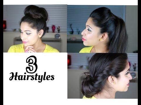 How To: 3 Simple, Quick and Easy Hairstyles | Kim Kardashian Sleek Hair Tutorial