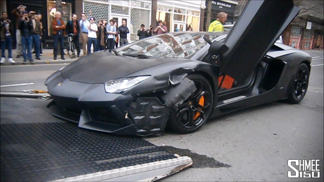 Wrecked Lamborghini Aventador In London Loaded Onto