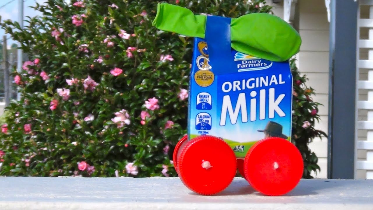 How To Recycled Craft Balloon Powered Milk Carton Car