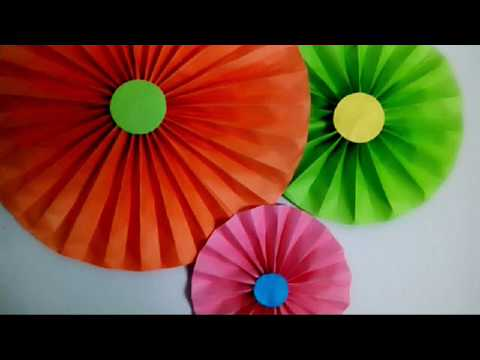 DIY Paper Fan || Party Decoration | Very Easy and Cheap Paper Rosettes |