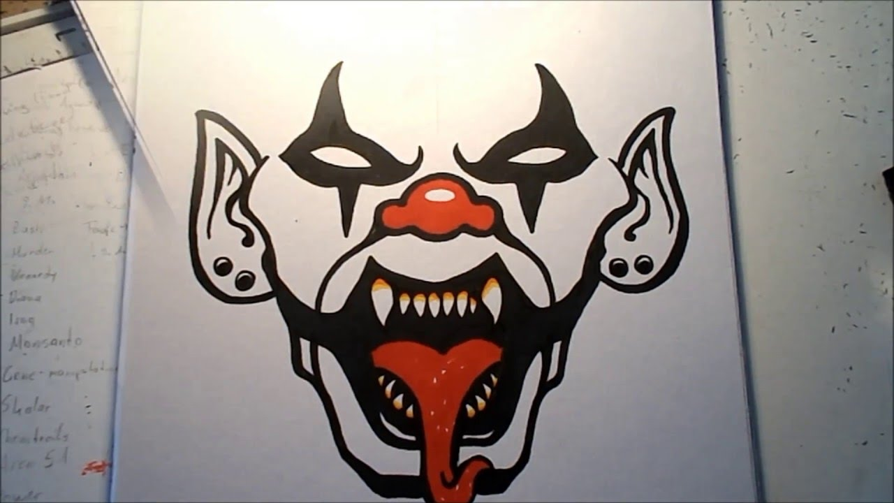 how to draw an evil clown vii youtube