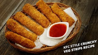 KFC Veg Strips - Crunchy Vegetable Snack Nuggets Recipe Cafe Style CookingShooking