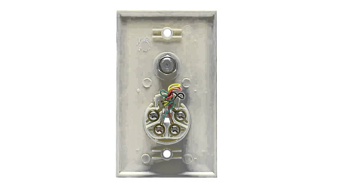 Rj11 4 Conductor Jack  F-type Wall Plate