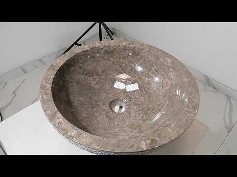 Lavabo bagno da appoggio in marmo rotondo esterno scalpellato Ø 45 x h. 15 cm. - N. prodotto: 51421