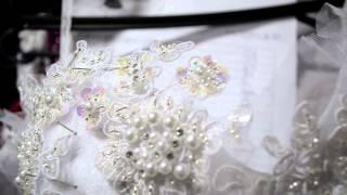 Produzindo bordado vestido de noiva...