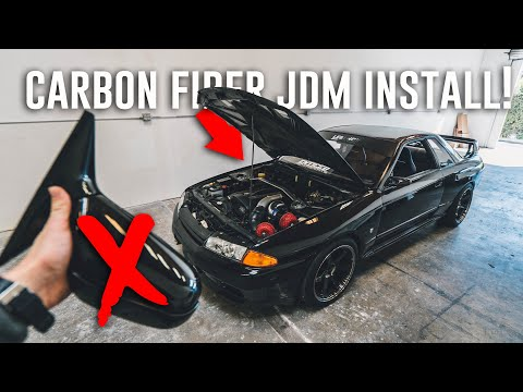 Skyline GTR Gets CARBON AERO! *AP1 Race Mirrors & Nismo Install*