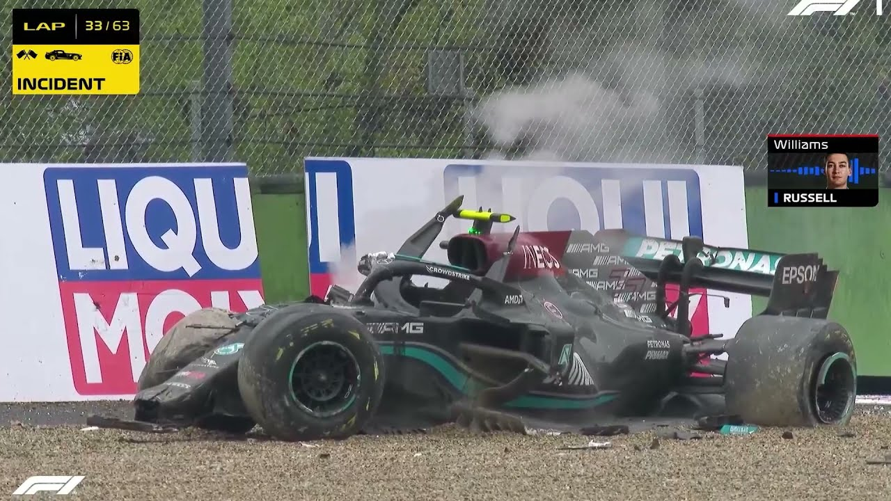 Brutal 300kph high speed F1 crash at Imola GP between Russell and Bottas