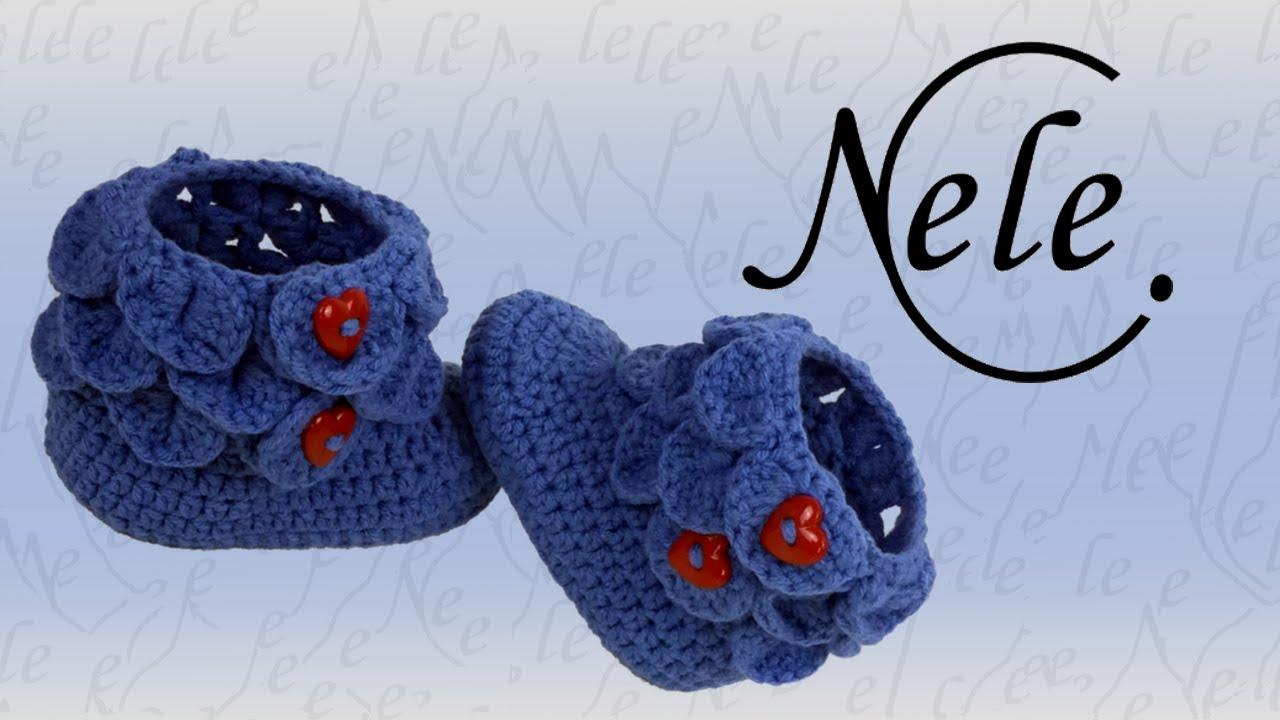 Babyschuhe häkeln - crocodile stitch - Schuppenmuster - Teil 2, DIY ...