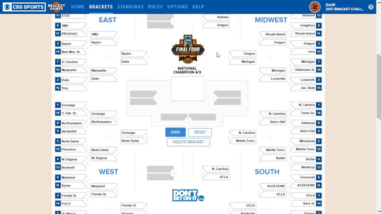 2017 March Madness Bracket Predictions For Fun