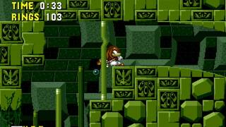 [TAS] Knuckles in Sonic 1 - Labyrinth ACT 3 Ring-attack [Test run]