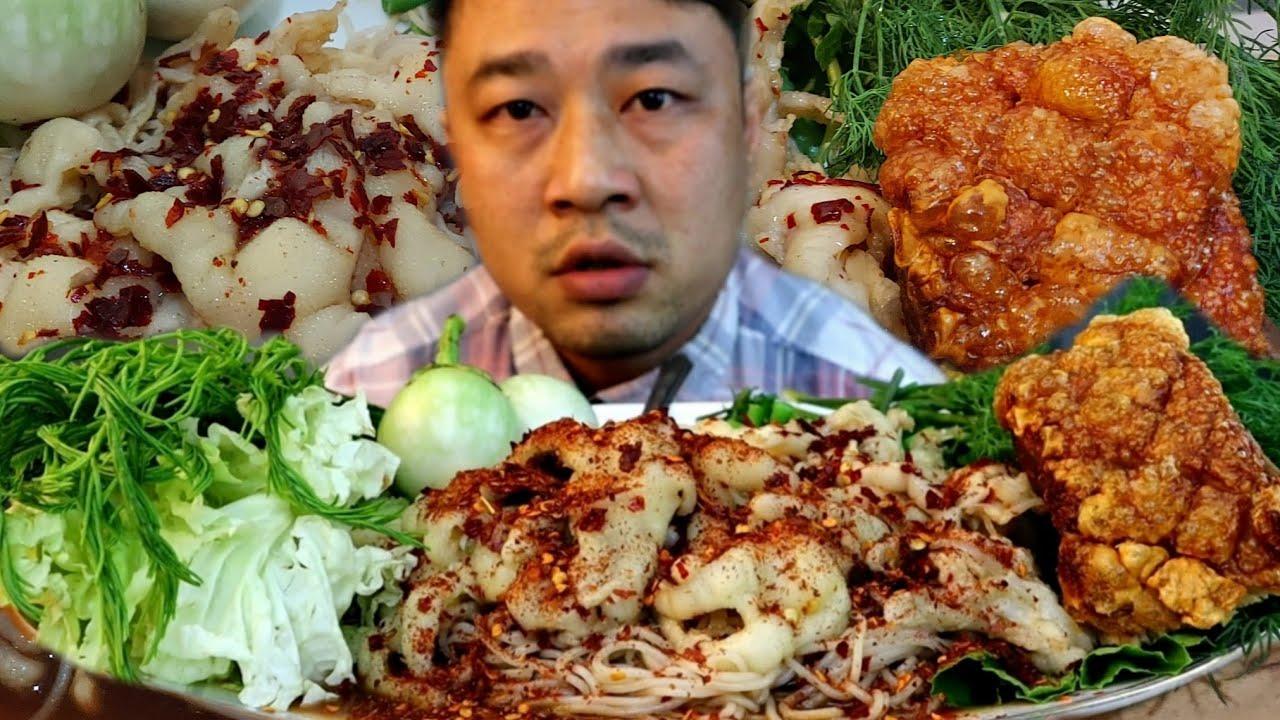 ขนมจีนซาวน้ำปลาร้า ใส่เล็บมือนาง น้ำปลาร้าข้นๆแซ่บคัก-11/7/2020-