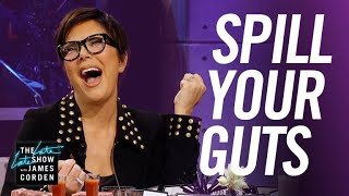 James and Kris Jenner take turns asking each other very personal questions about the Kardashian family and James's career, which they must answer or eat a disgusting food, like bull's penis.  More Late Late Show: Subscribe: http://bit.ly/CordenYouTube Watch Full Episodes: http://bit.ly/1ENyPw4 Facebook: http://on.fb.me/19PIHLC Twitter: http://bit.ly/1Iv0q6k Instagram: http://bit.ly/latelategram  Watch The Late Late Show with James Corden weeknights at 12:35 AM ET/11:35 PM CT. Only on CBS.  Get new episodes of shows you love across devices the next day, stream live TV, and watch full seasons of CBS fan favorites anytime, anywhere with CBS All Access. Try it free! http://bit.ly/1OQA29B  --- Each week night, THE LATE LATE SHOW with JAMES CORDEN throws the ultimate late night after party with a mix of celebrity guests, edgy musical acts, games and sketches. Corden differentiates his show by offering viewers a peek behind-the-scenes into the green room, bringing all of his guests out at once and lending his musical and acting talents to various sketches. Additionally, bandleader Reggie Watts and the house band provide original, improvised music throughout the show. Since Corden took the reigns as host in March 2015, he has quickly become known for generating buzzworthy viral videos, such as Carpool Karaoke.""