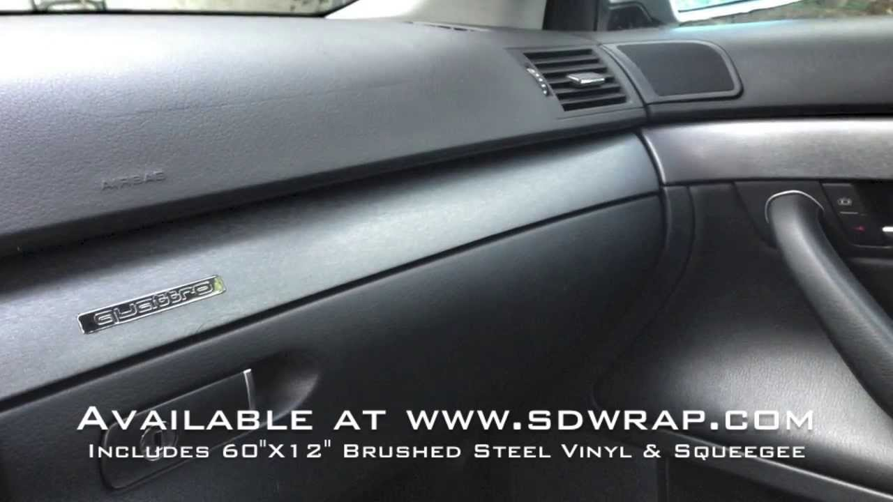 Brushed steel vinyl interior trim wrap on an audi a4 youtube for Vinyl wrapping interior trim