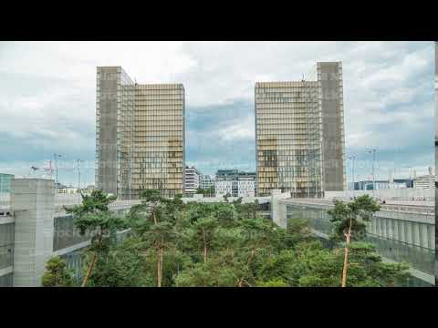 View of the National Library of France timelapse, whose four buildings in the form of open books