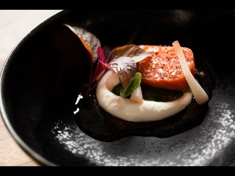 The Art of Plating: Tender Salmon With Watercress, Horseradish, and Pickled Onion