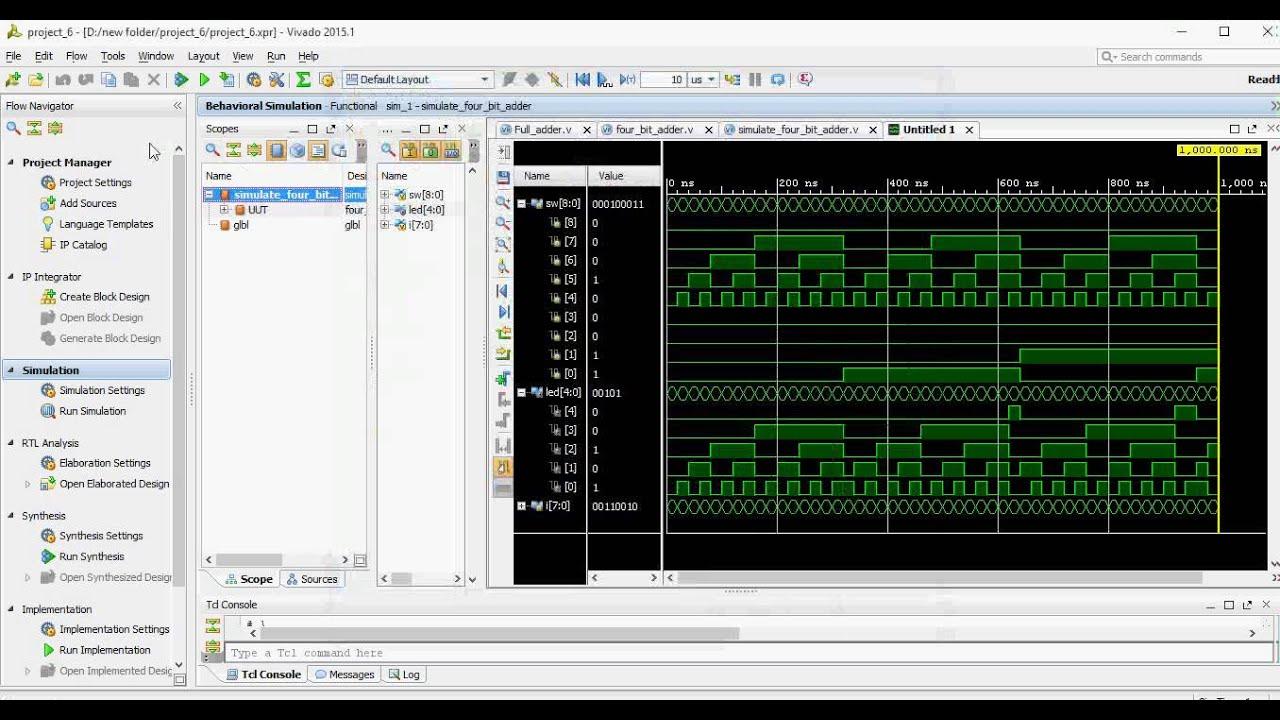 Four Bits Full Adder Implementation Using Vivado 2015 1v