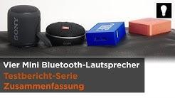 Vier Mini Bluetooth-Lautsprecher im Test - JBL Go, GO2 Clip 3, SONY XB10 - Zusammenfassung