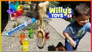 Diet Pepsi and Mentos Rocket Science Experiment for Kids - LEARN COLORS with Soda Pop