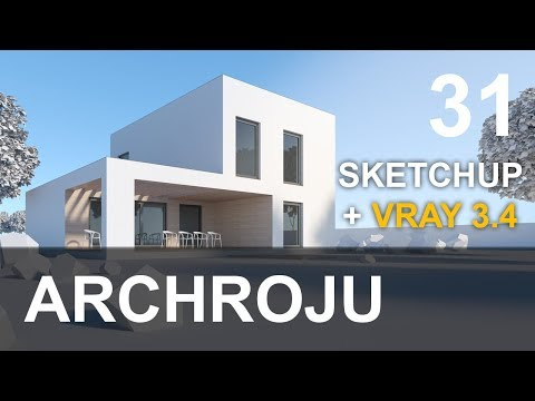 SketchUp - Modern house project VRAY 3.4 for beginners - Tutorial 31