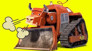 Animacars - The Bull Bulldozer Tries To Catch Candy  - Cartoon For Kids With Trucks & Animals