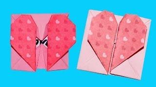 DIY paper crafts - Origami Heart Box & Envelope with Secret Message valentine's day / Julia DIY