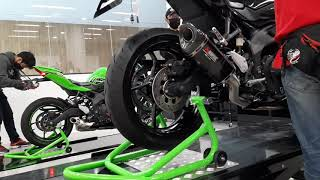 ZX-25R Yoshimura, Akrapovic, and stock exhaust