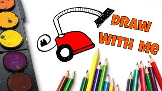 🎨 HOW TO DRAW a Simple VACUUM CLEANER ~ Fun Tutorial for KIDS ~ Cartoon Hoover COMES TO LIFE Movie