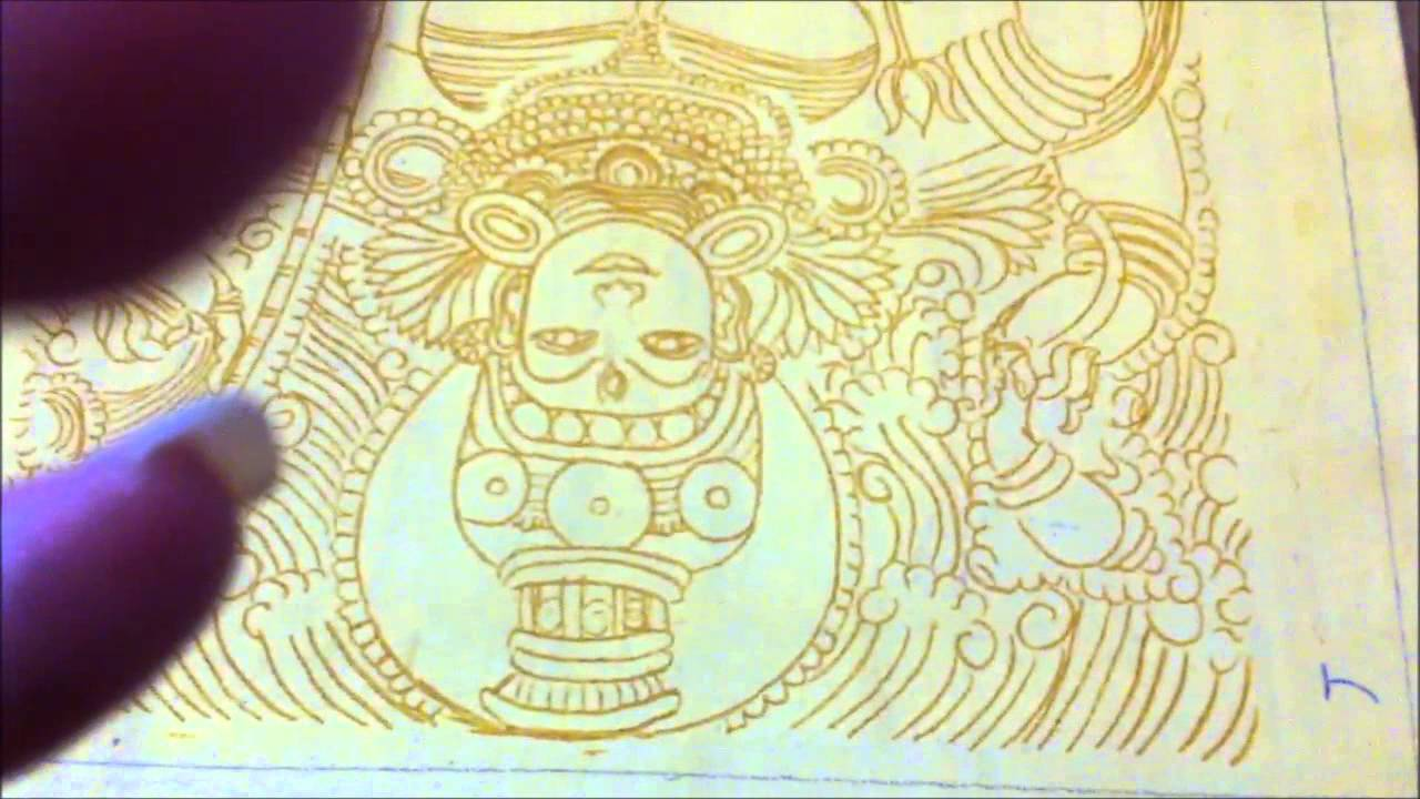 Step 2b Yellow Ochre Outline Tanjore Painting Kerala