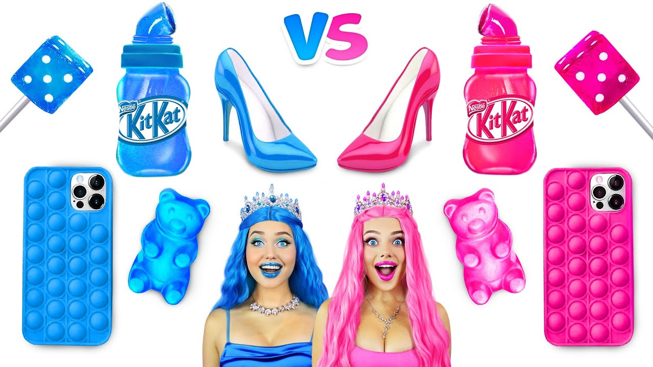 Pink VS Blue Food Challenge | Blowing One Color Bubble Gum For 24 HRS | Epic Girls War by RATATA