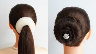 New Bun Hairstyle For Short Hair Simple Hair Style Girl Donut Bun Easy Hairstyle For Wedding