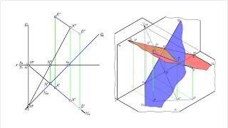 Точка пересечения прямой с плоскостью, заданной своими следами