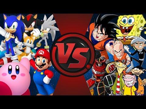 VIDEO GAMES vs CARTOONS! (Sonic, Mario, Kirby vs SpongeBob, Cartoon Network, Goku) Fan Animation!