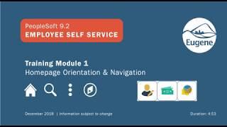 PeopleSoft 9.2 Employee Self Service: Module 1 Homepage