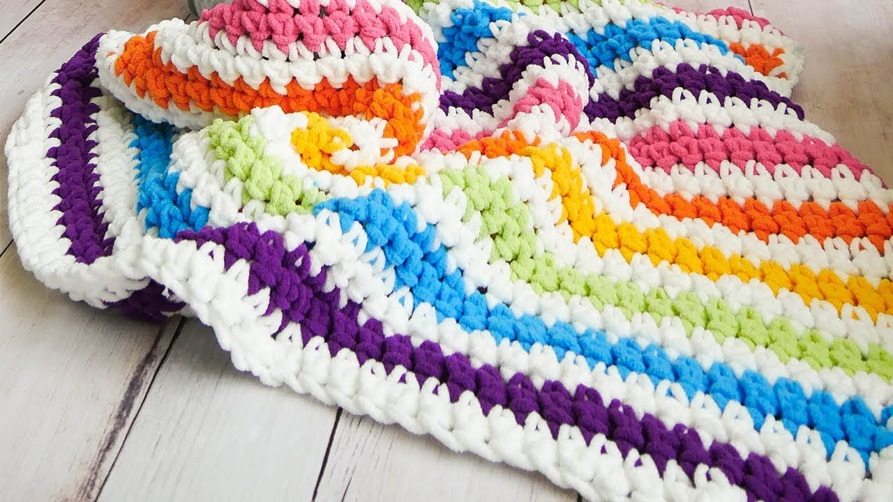Crochet Rainbow Stripes Baby Blanket The Easiest On Youtube Youtube
