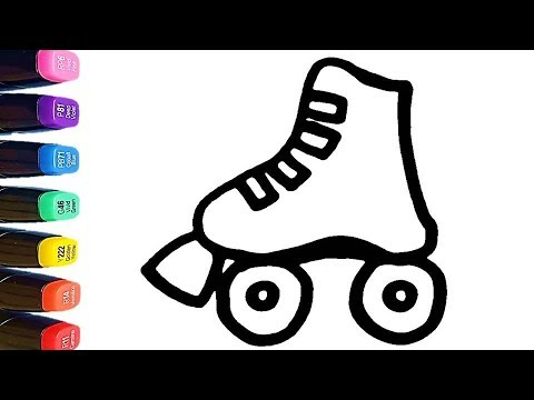 How To Draw A Roller Skate For Kids Coloring Pages Learn Colors