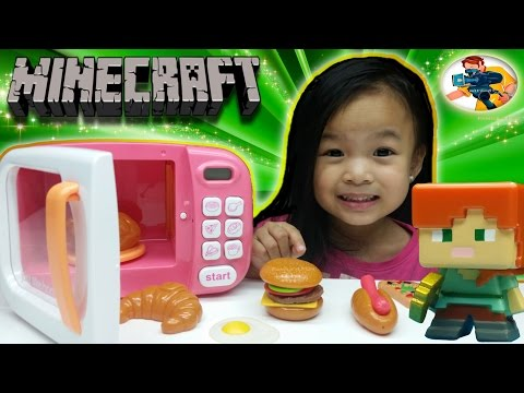 Just Like Home Microwave Kitchen Cooking Egg Playset Hamburger with Minecraft Netherrack Series 3